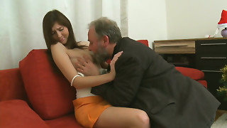Shy and modest angel Alina tempted easily by an aged fart