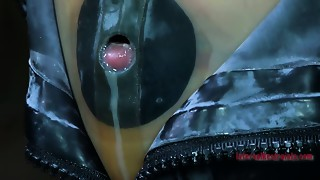 Taut darksome rubber mask makes Kristine Andrews suffocate and cry