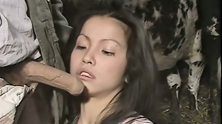 Shy darksome haired girlie blows thick pecker of her boss