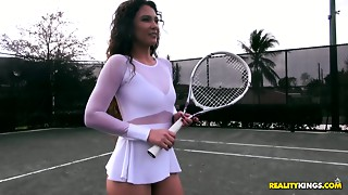 Breathtaking tennis sweetheart Jessica Torres rides hard wang reverse and face to face