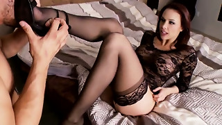 Lengthy legged black haired charming sexpot in nylons receives bawdy cleft licked