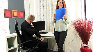 Secretary sucks the boss weenie for some cum