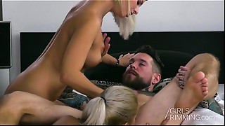 Double Rimjob by 2 Hawt Girls Anal dance drilling